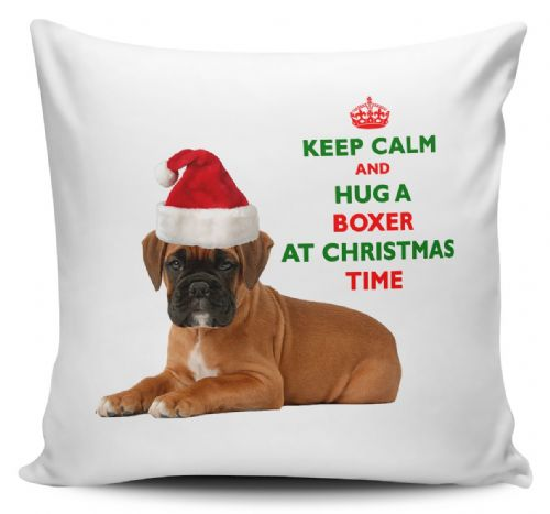 Christmas Keep Calm And Hug A Boxer Novelty Cushion Cover